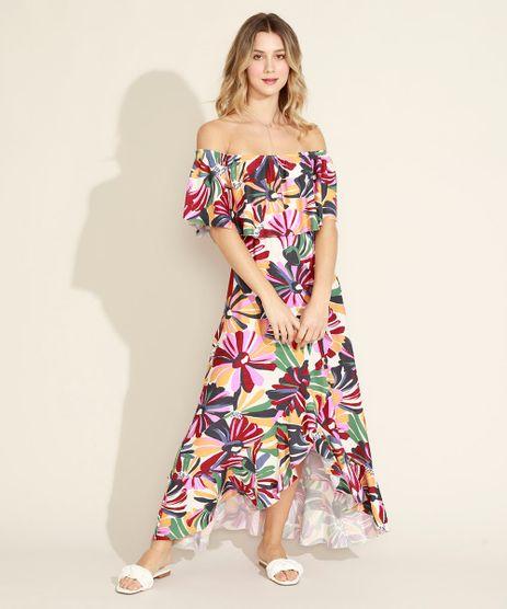 Vestido-Feminino-Longo-Estampado-Floral-Ombro-a-Ombro-com-Babado-Multicor-9963862-Multicor_1