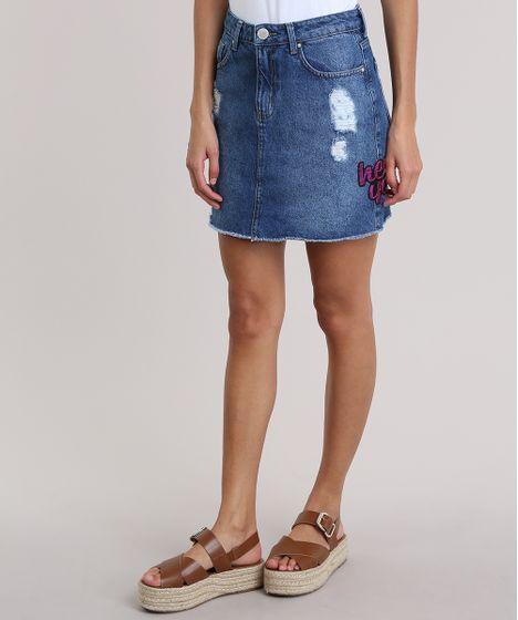7ac7fd5e95 Saia Jeans com Bordado em Paetê Azul Médio - cea