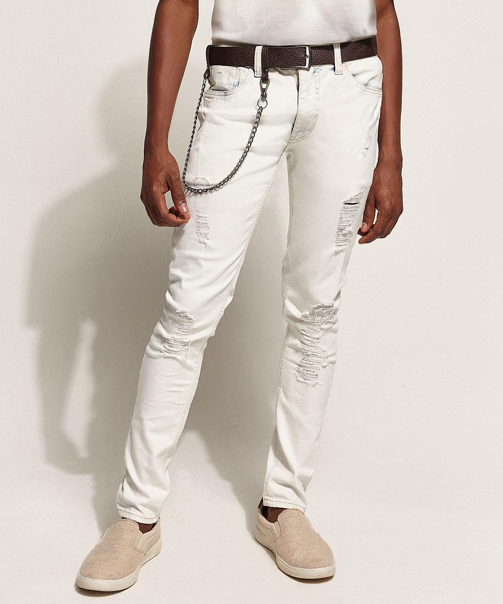 Calça Jeans Masculina Super Skinny Destroyed com Cinto e Corrente Azul Claro