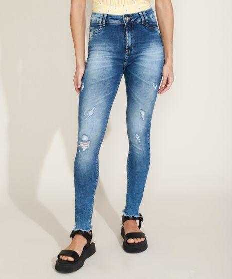 Calca-Jeans-Feminina-Sawary-Super-Skinny-Levanta-Bumbum-Cintura-Alta-com-Puidos-Azul-Escuro-9976425-Azul_Escuro_1