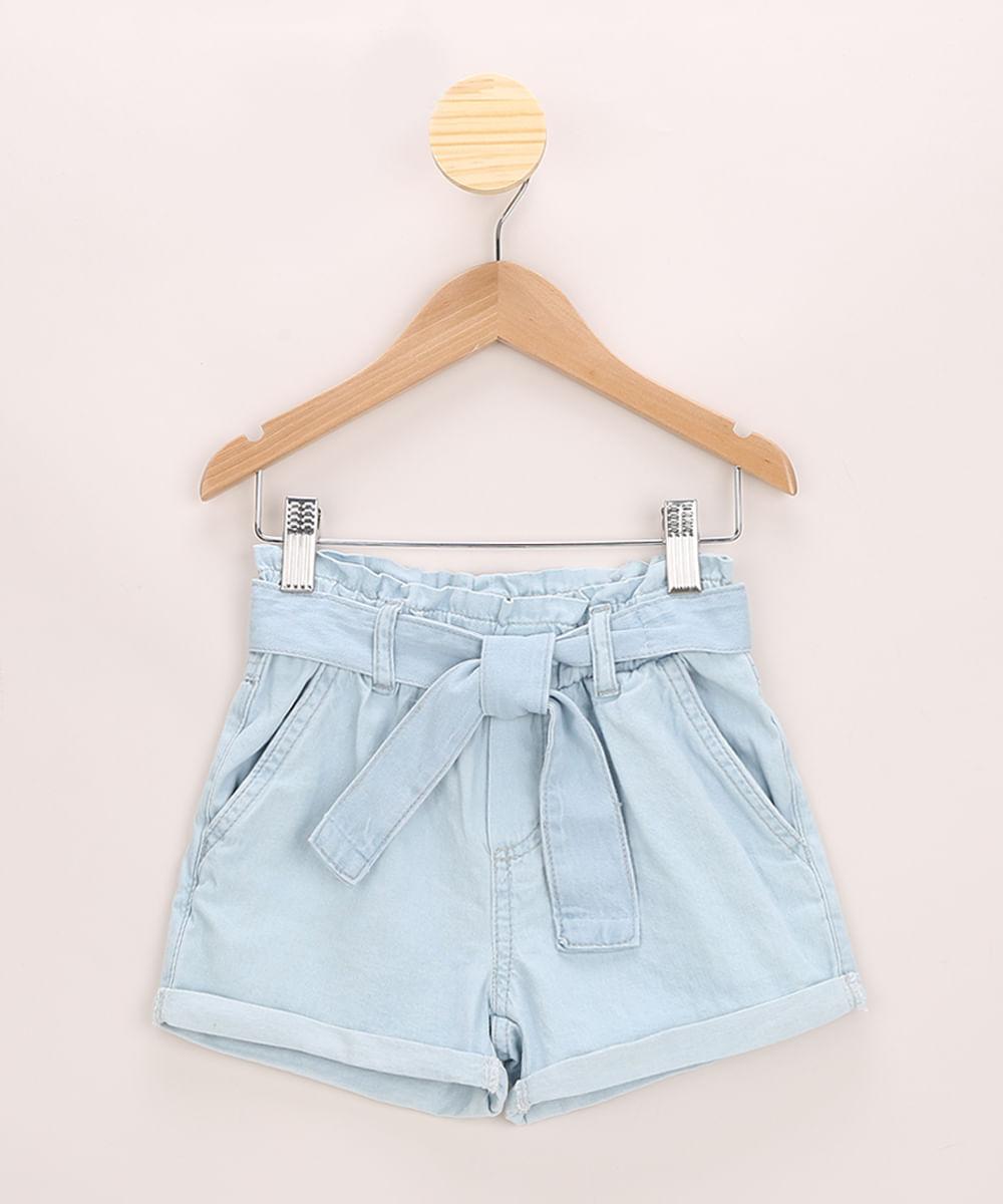Short Jeans Infantil Clochard com Faixa para Amarrar Azul Claro