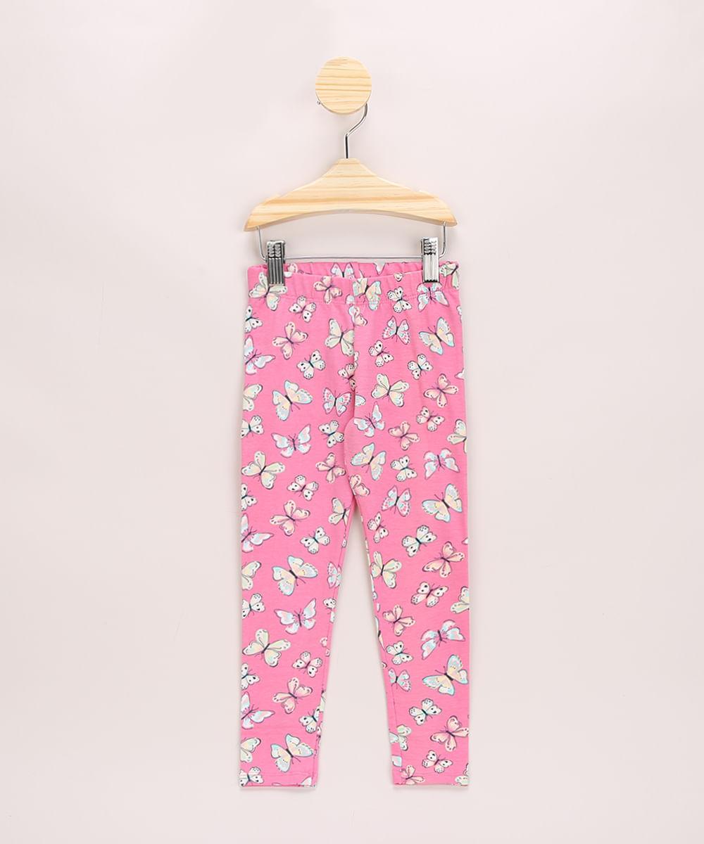 Calça Legging Infantil Estampada de Borboletas Rosa