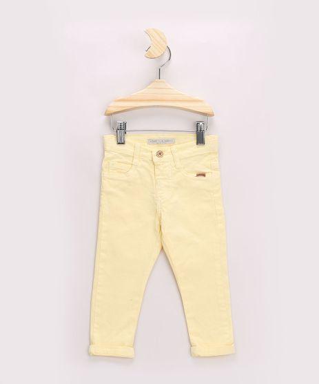 Calca-de-Sarja-Infantil-Skinny-com-Bolsos-Amarelo-Claro-8379225-Amarelo_Claro_1