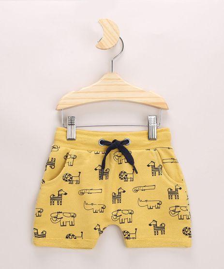 Short-de-Moletom-Infantil-Estampada-de-Bichos-com-Cordao-e-Bolsos-Amarelo-9957228-Amarelo_1