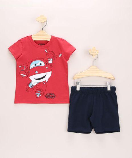Conjunto-Infantil-de-Camiseta-Super-Wings-Manga-Curta-Vermelha---Bermuda-de-Moletom-Preto-9963493-Preto_1
