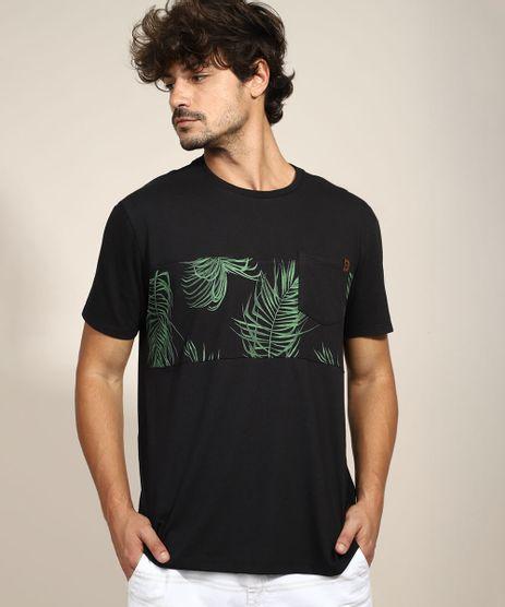 Camiseta-Masculina-com-Recorte-de-Folhagem-e-Bolso-Manga-Curta-Gola-Careca-Preta-9970882-Preto_1