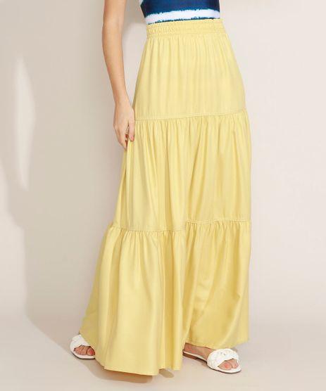 Saia-Feminina-Longa-com-Recortes-Amarela-9972223-Amarelo_1
