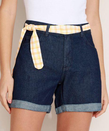 Short-Jeans-Feminino-Midi-Cintura-Media-Barra-Dobrada-com-Cinto-Azul-Escuro-9969113-Azul_Escuro_1
