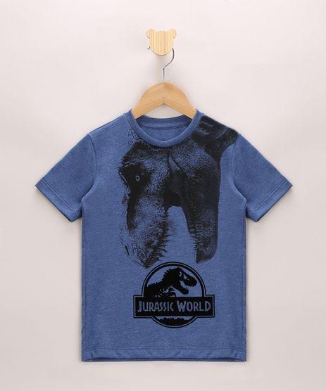Camiseta-Infantil-Jurassic-World-Aveludado-Manga-Curta-Azul-9968784-Azul_1