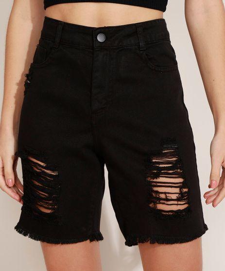 Bermuda-Jeans-Feminina-Cintura-Alta-com-Pregas-Destroyed-Preta-9974540-Preto_1