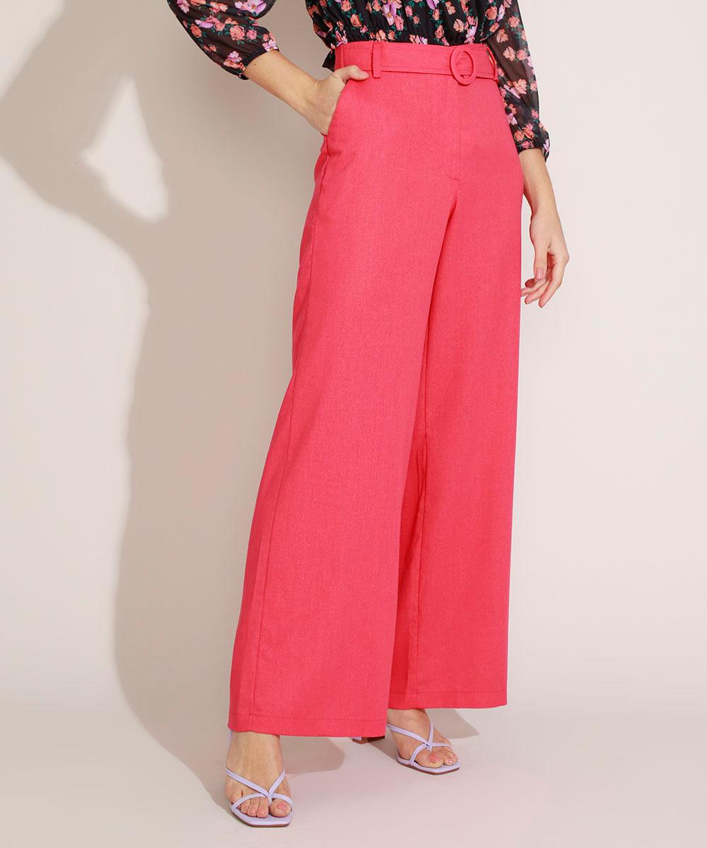 Calça Feminina com Linho Pantalona Cintura Super Alta e Faixa Rosa Claro