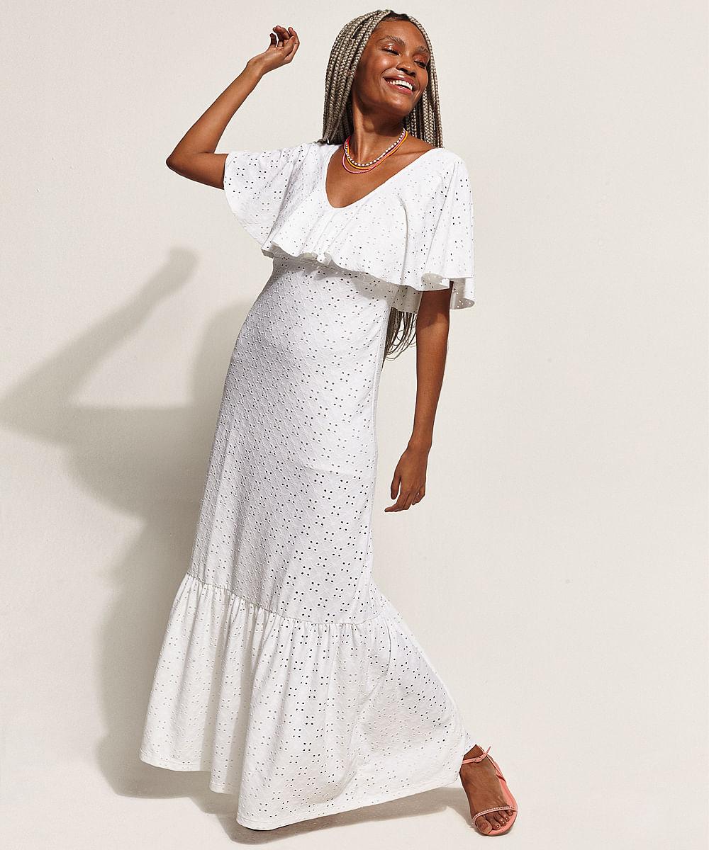 Vestido de Laise Feminino Longo com Recorte e Babado Manga Curta Off White