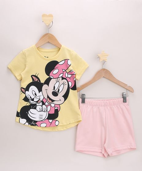 Conjunto-Infantil-Blusa-Amarela-Minnie-Manga-Curta---Short-Rosa-Claro-9967707-Rosa_Claro_1