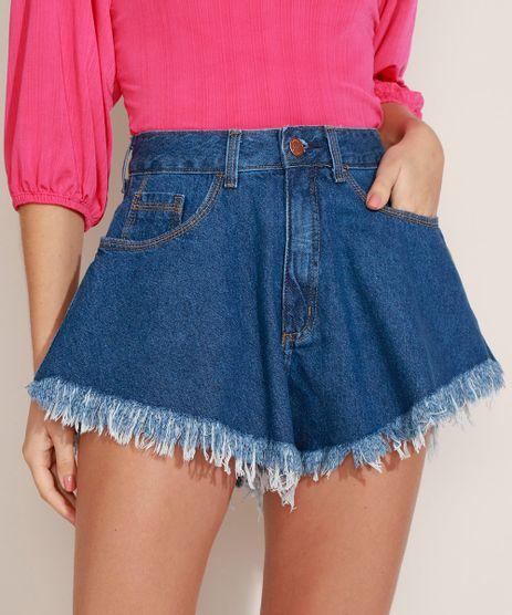 Short-Jeans-Feminino-Gode-Cintura-Super-Alta-com-Barra-Desfiada-Azul-Medio-9971197-Azul_Medio_1