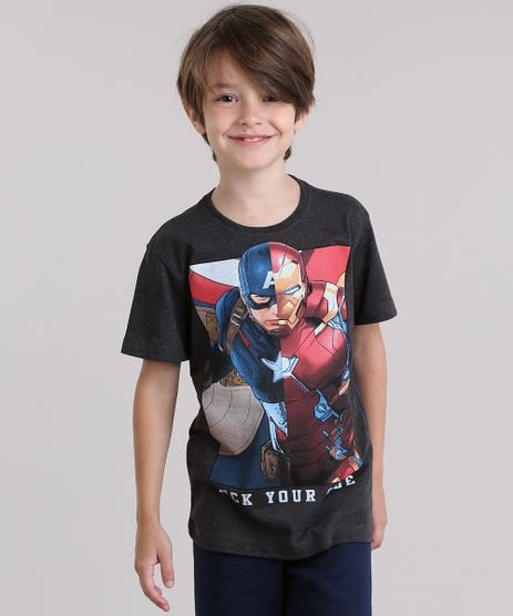 Camiseta-Capitao-America-e-Homem-de-Ferro-Cinza-Mescla-Escuro-8771479-Cinza_Mescla_Escuro_1
