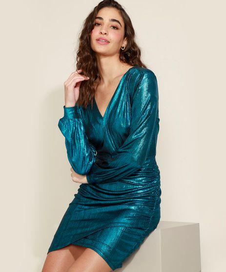 Vestido-Feminino-Curto-Brilho-Metalizado-com-Franzido-Decote-V-Manga-Longa-Bufante-Azul-9972614-Azul_1
