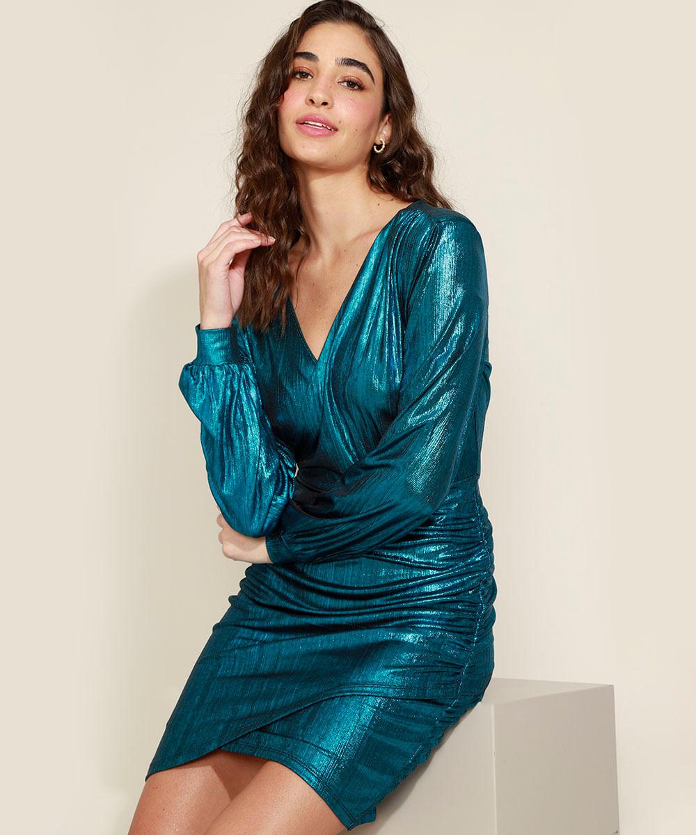 Vestido Feminino Curto Brilho Metalizado com Franzido Decote V Manga Longa Bufante Azul