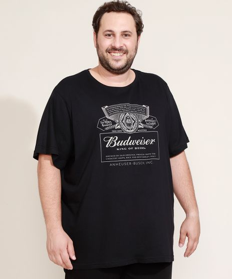 Camiseta-Masculina-Plus-Size-Budweiser-Manga-Curta-Gola-Careca-Preta-9972063-Preto_1