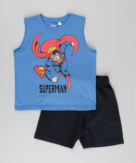 Conjunto-de-Regata-Super-Homem-Azul-Royal---Bermuda-em-Moletom--Preta-8962493-Preto_1