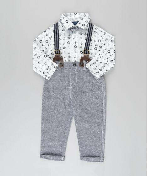 Conjunto de Camisa Estampada Navy Off White + Calça com Suspensório + Gravata  Borboleta em Algodão + Sustentável Cinza Claro - cea 95a8c53f36b
