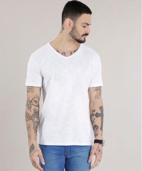 f4a6da8721 Camiseta Masculina Básica Flamê Manga Curta Gola V Branca - cea