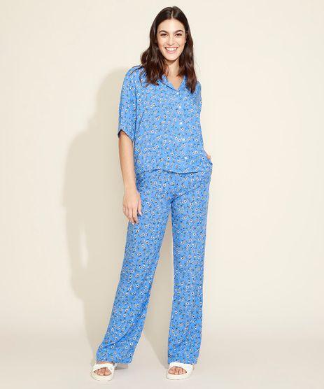 Conjunto-Feminino-Mindset-de-Camisa-Estampada-Floral-Manga-Curta---Calca-Wide-Alfaiatada-Azul-9975462-Azul_1