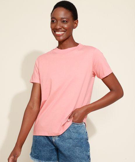 T-Shirt-Feminina-Mindset-Basica-Manga-Curta-Decote-Redondo-Coral-9394894-Coral_1
