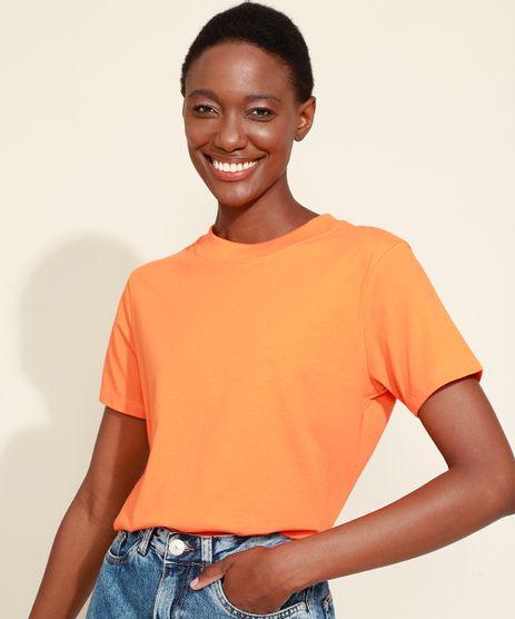 T-Shirt-Feminina-Mindset-Basica-Manga-Curta-Decote-Redondo-Laranja-Neon-9394894-Laranja_Neon_1