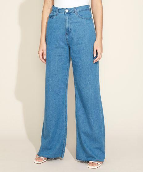Calca-Jeans-Feminina-Mindset-Wide-Reta-Cintura-Super-Alta-com-Barra-a-Fio-Azul-Medio-9974856-Azul_Medio_1