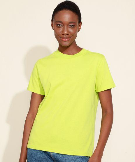 T-Shirt-Feminina-Mindset-Basica-Manga-Curta-Decote-Redondo-Verde-Neon-9394894-Verde_Neon_1