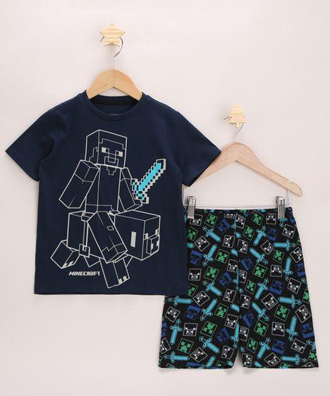 Pijama-Infantil-Minecraft-Manga-Curta-Azul-Marinho-9956712-Azul_Marinho_1