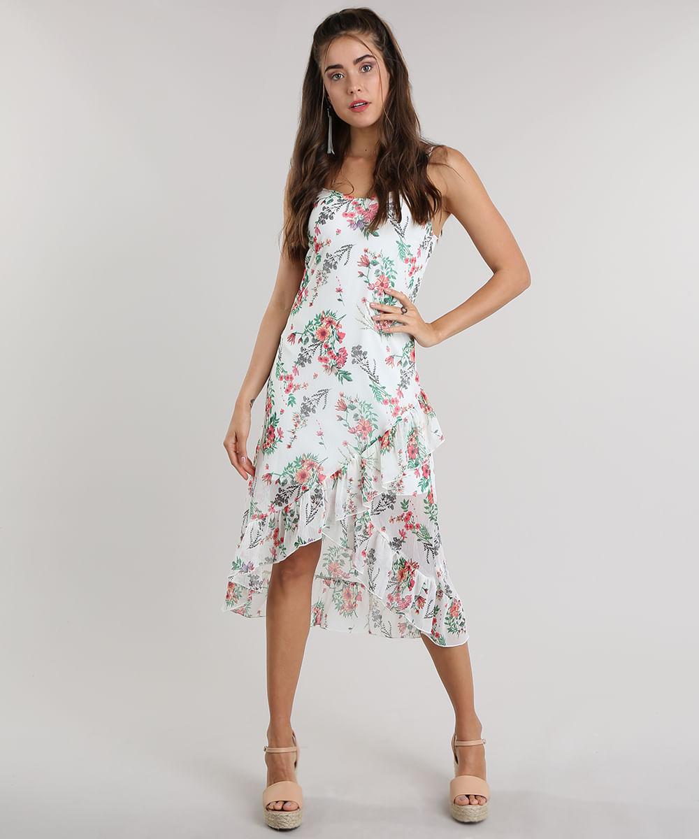1153821a0 Vestido Midi Estampado Floral com Babados Off White - cea