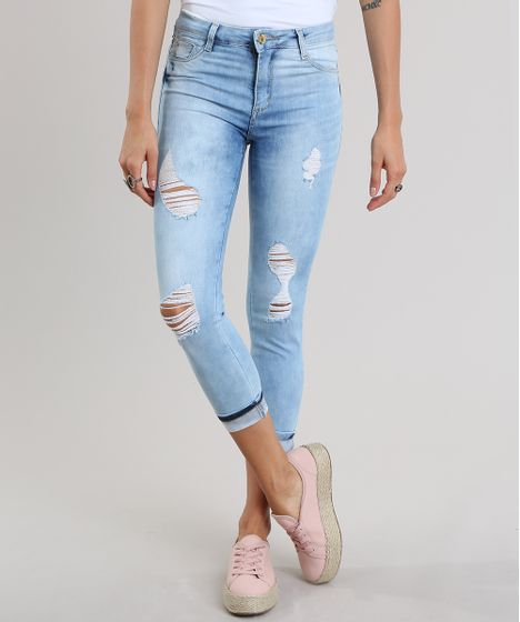 3bf71c56b Calca-Jeans-Cropped-Destroyed-Sawary-Azul-Claro-8935530- ...