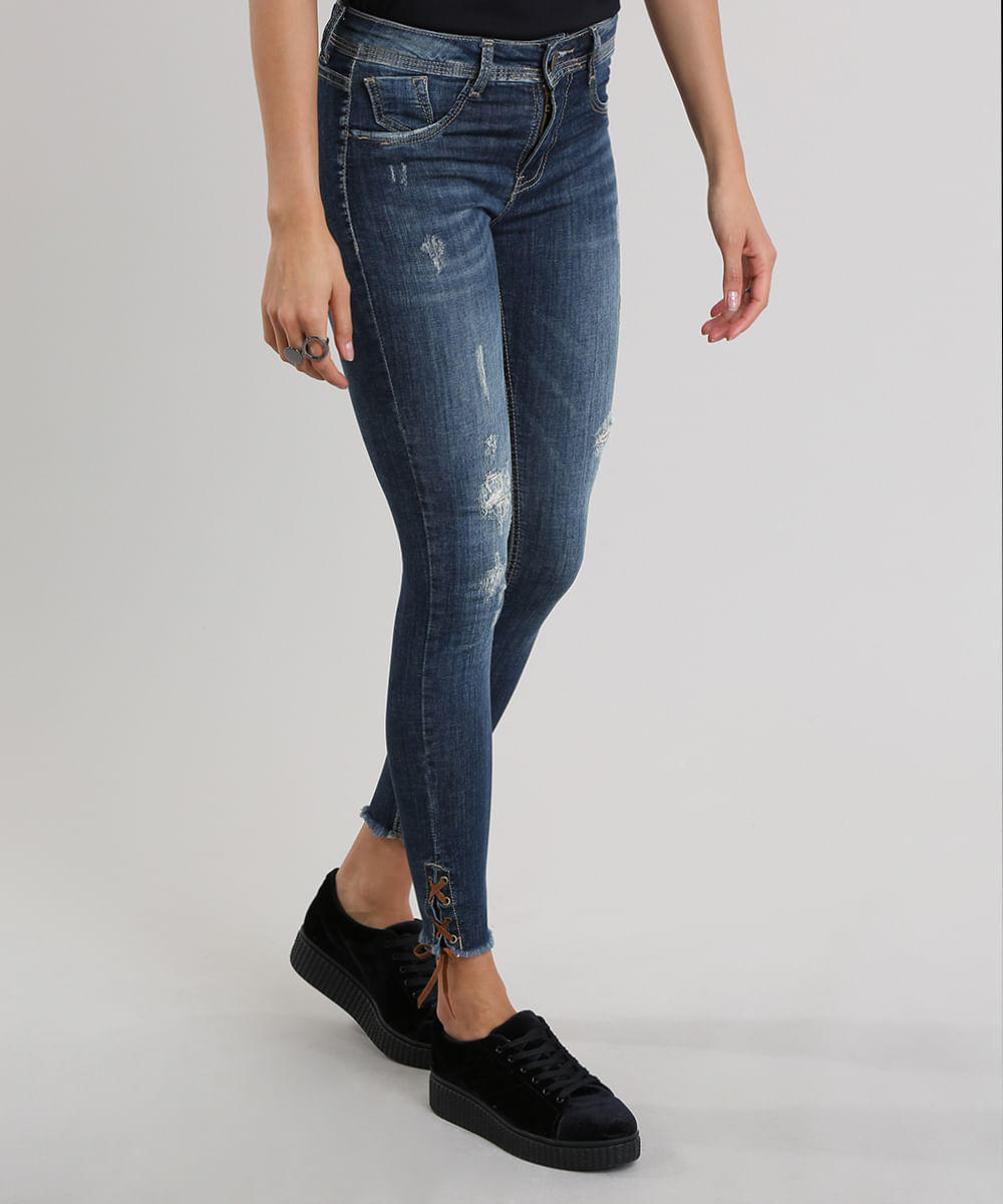 31f1db6fb Calça Jeans Super Skinny Destroyed Sawary Azul Escuro - ceacollections
