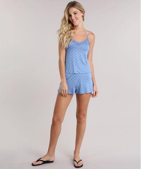 fe5c0cb3d Short Doll Estampado de Poá com Renda Azul - cea