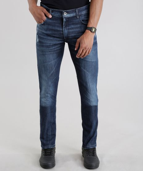 Calca-Jeans-Slim-com-Algodao---Sustentavel-Azul-Medio-8655433-Azul_Medio_1