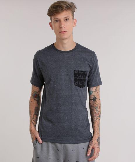 Camiseta-com-Bolso-Estampado-de-Andorinhas-Cinza-Mescla-Escuro-8931809-Cinza_Mescla_Escuro_1