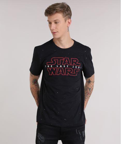 Camiseta Star Wars em Algodão + Sustentável Preta - cea 176ef8bb52085