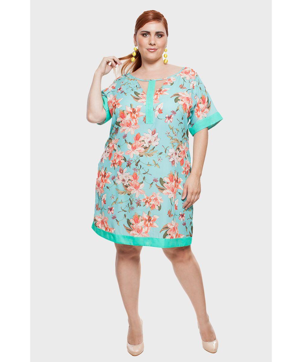 f793f9c33 Vestido Floral Plus Size - cea