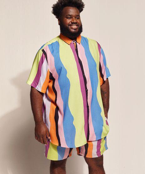 Camisa-Masculina-Feline-Plus-Size-Dots-Listras-Manga-Curta-com-Bolso-Multicor-9970239-Multicor_1