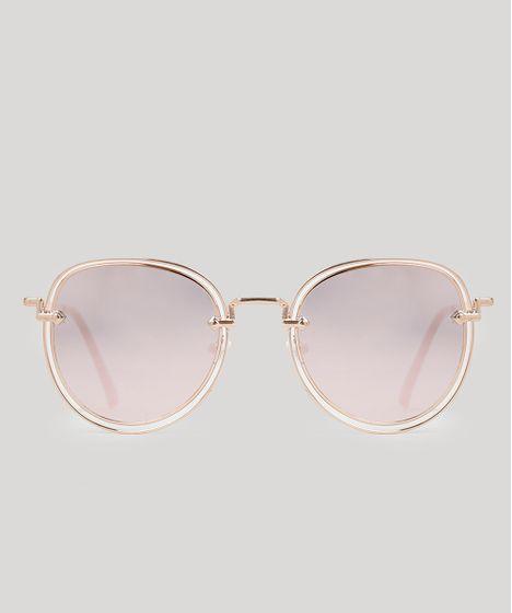 Oculos-de-Sol-Redondo-Feminino-Oneself-Dourado-8965664- ... 118445be8a