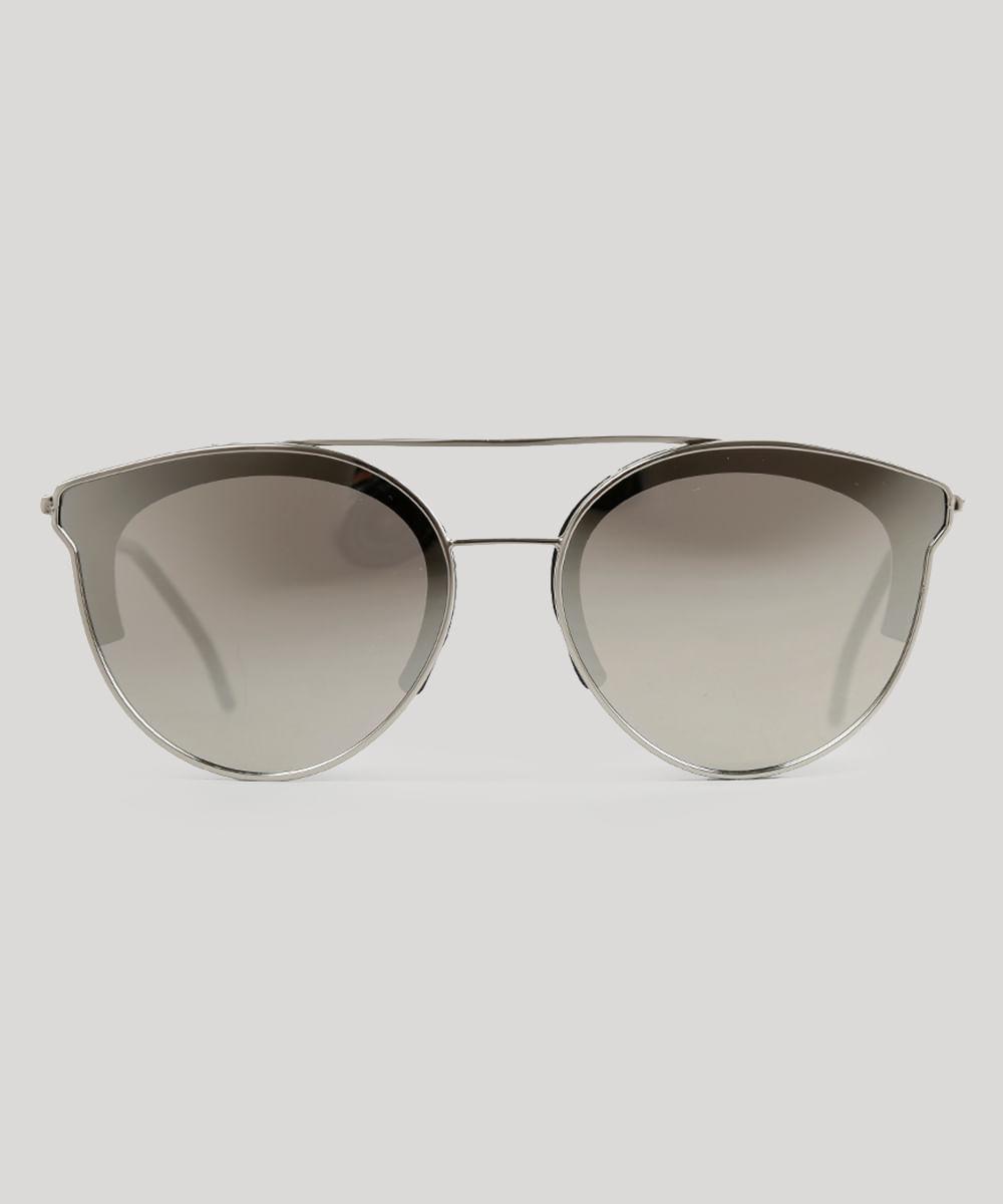 Óculos de Sol Redondo Feminino Oneself Prateado - ceacollections 1386a589bf