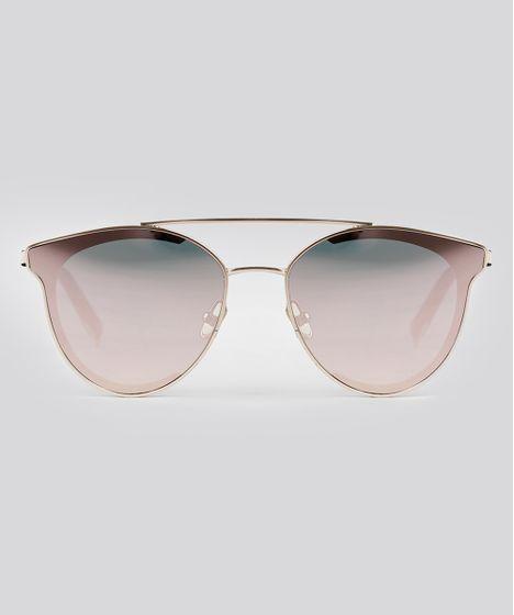 Óculos de Sol Redondo Feminino Oneself Dourado - cea 4c43d574f3