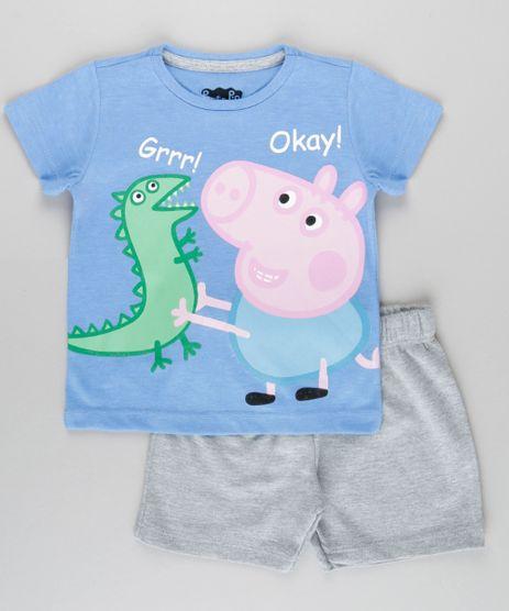 Conjunto-George-Peppa-Pig-de-Camiseta-Azul---Bermuda-em-Moletom-Cinza-Mescla-8827211-Cinza_Mescla_1