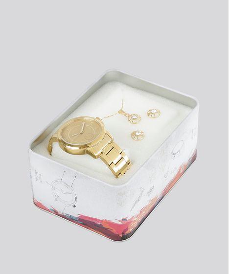 4836f562533 Kit de Relógio Analógico Condor Feminino + Colar + Brinco ...