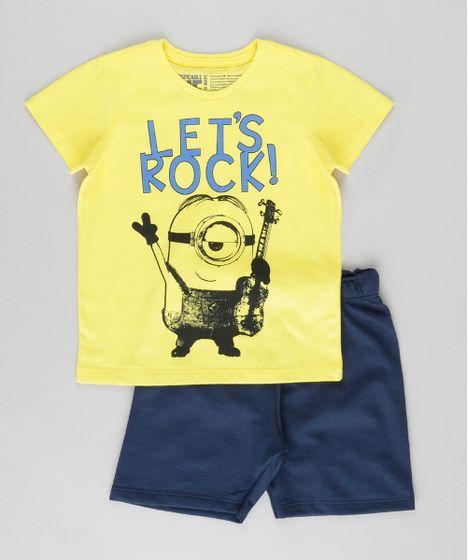 Conjunto de Camiseta Amarela + Bermuda Minions Azul Marinho - cea b1e5caeb2a5da