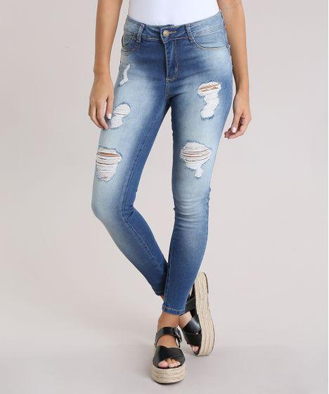 d089d4f8b Calça Jeans Super Skinny Destroyed Modela Bumbum Sawary Azul Claro - cea