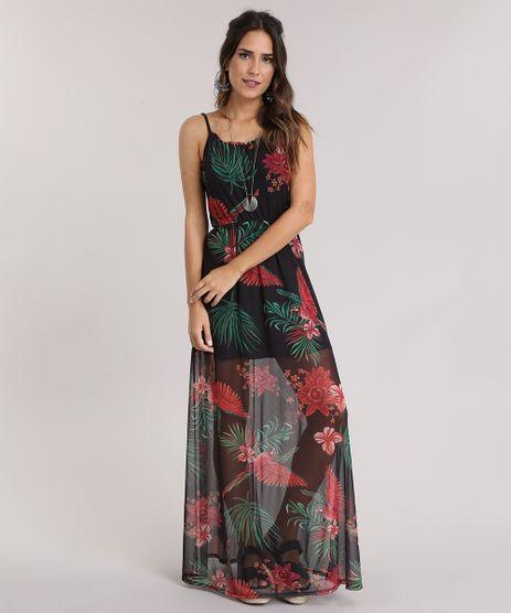 Vestido-Longo-em-Tule-Estampado-Floral-Preto-8790400-Preto_1