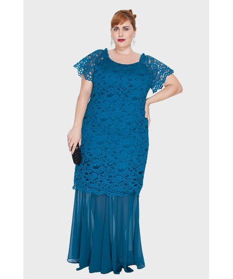 Vestido 2 Em 1 Com Renda Plus Size