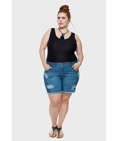 1383e4f91 Shorts Jeans Stone Puídos Plus Size - cea
